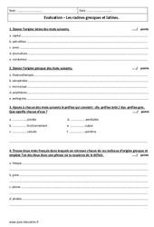 Racines latines et grecques - Examen Evaluation : 2eme Secondaire