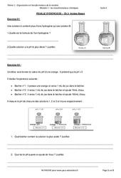 Acides - Bases - Exercices avec les corrections : 3eme Secondaire
