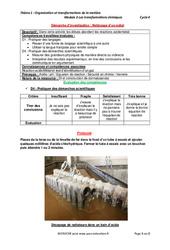 Nettoyage d'un métal - Démarche d'investigation avec les corrections : 3eme Secondaire