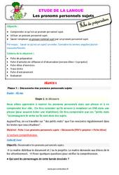 Pronoms personnels sujets - Étude de la langue - Fiche de préparation : 2eme Primaire