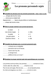 Pronoms personnels sujets - Étude de la langue - Exercices avec les corrigés : 2eme Primaire