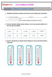 Utiliser les nombres relatifs - Exercices avec correction : 1ere Secondaire
