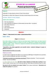 Passé - présent - futur - Étude de la langue - Fiche de préparation : 3eme Primaire