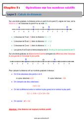 Calculs de distances - Les nombres relatifs - Cours : 1ere Secondaire