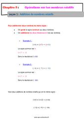 Addition de nombres relatifs - Cours : 1ere Secondaire