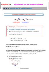 Soustraction de nombres relatifs - Cours : 1ere Secondaire