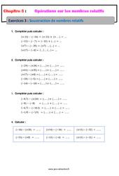 Soustraction de nombres relatifs - Exercices avec correction : 1ere Secondaire