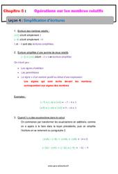 Simplification d'écritures - Les nombres relatifs - Cours : 1ere Secondaire