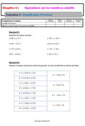 Simplification d'écritures - Les nombres relatifs - Examen Evaluation, bilan, contrôle avec la correction : 1ere Secondaire
