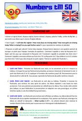 Numbers till 50 - Anglais - Lexique - Séquence complète : 2eme, 3eme Primaire