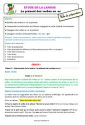 Présent des verbes en - er - Étude de la langue - Fiche de préparation : 3eme Primaire