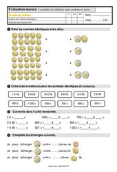 Évaluation, bilan sur connaître les relations entre les centimes et euros au  avec les corrections : 2eme Primaire