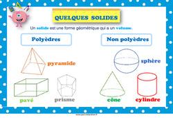 Quelques solides - Affiche de classe : 3eme, 4eme, 5eme Primaire