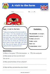 A visit to the farm - Anglais - Lecture - Level 3 : 4eme, 5eme Primaire