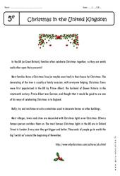 Christmas in the United Kingdom - Lecture compréhension en anglais : 1ere Secondaire
