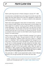 Martin Luther King - Lecture compréhension en anglais : 3eme Secondaire