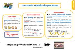 Leçon, trace écrite au  sur la monnaie - Fiches résoudre des problèmes : 2eme Primaire