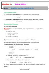 Simplifier une expression littérale - Calcul littéral - Cours : 1ere Secondaire