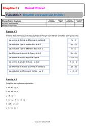 Simplifier une expression littérale - Calcul littéral - Examen Evaluation, bilan, contrôle avec la correction : 1ere Secondaire