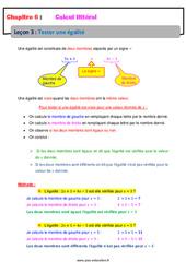 Tester une égalité - Calcul littéral - Cours : 1ere Secondaire