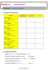 Tester une égalité - Calcul littéral - Exercices avec correction : 1ere Secondaire