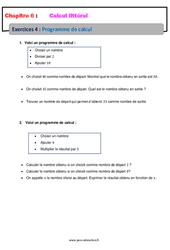 Programme de calcul - Calcul littéral - Exercices avec correction : 1ere Secondaire