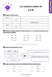 Exercices, révisions sur les nombres entiers de 0 à 99 au  avec les corrections : 2eme Primaire