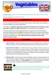Vegetables - Anglais - Lexique - Séquence complète : 2eme, 3eme Primaire