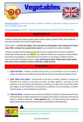 Vegetables - Anglais - Lexique - Séquence complète : 4eme, 5eme Primaire