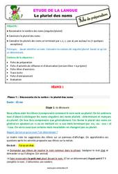 Le pluriel des noms - Étude de la langue - Fiche de préparation : 3eme Primaire