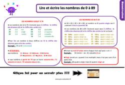 Leçon, trace écrite sur les nombres de 0 à 89 au  : 2eme Primaire