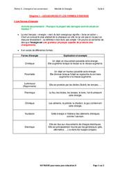 Les sources et les formes d'énergies - Cours : 1ere Secondaire