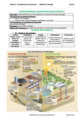 Quelles sont les sources d'énergies? - Activité documentaire avec les corrections : 1ere Secondaire