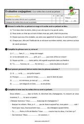 Le présent des verbes être et avoir - Étude de la langue - Examen Evaluation avec les corrigés : 3eme Primaire