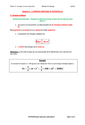 L'énergie cinétique et potentielle - Cours : 3eme Secondaire