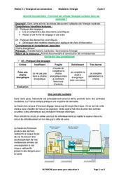 Comment est utilisée l'énergie nucléaire dans les centrales? - Activité documentaire avec les corrections : 3eme Secondaire