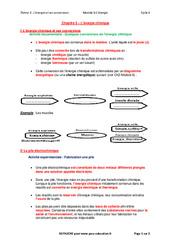 L'énergie chimique - Cours : 3eme Secondaire