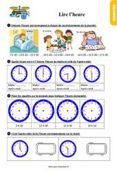 Exercices, révisions sur lire l'heure au  avec les corrections : 2eme Primaire