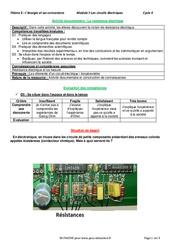 La résistance électrique - Activité documentaire avec les corrections : 2eme Secondaire