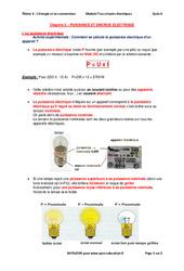 Puissance et énergie électrique - Cours : 3eme Secondaire