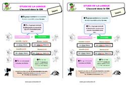 L'accord dans le GN au  - Étude de la langue - Cours, Leçon : 3eme Primaire