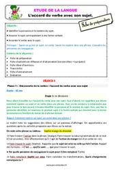 L'accord du verbe avec son sujet - Étude de la langue - Fiche de préparation : 3eme Primaire