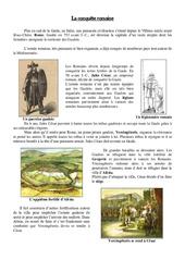 Conquête de la Gaule par les romains - Antiquité- Fiches Exercices   - Document, questionnaire et correction : 3eme Primaire
