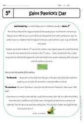 Saint Patrick's Day - Lecture compréhension en anglais : 1ere Secondaire