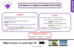 Leçon, trace écrite sur comparer et ranger les nombres de 0 à 99 au  : 2eme Primaire