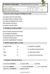 L'accord du verbe avec son sujet - Étude de la langue - Examen Evaluation avec les corrigés : 2eme Primaire
