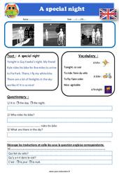 A special night - Anglais - Lecture - Level 2 : 2eme, 3eme, 4eme, 5eme Primaire