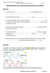 Transmission d'informations par le son et la lumière - Exercices avec les corrections : 3eme Secondaire