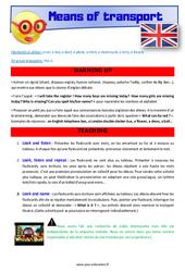 Means of transport - Anglais - Lexique - Séquence complète : 2eme, 3eme Primaire