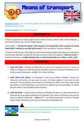 Means of transport - Anglais - Lexique - Séquence complète : 4eme, 5eme Primaire